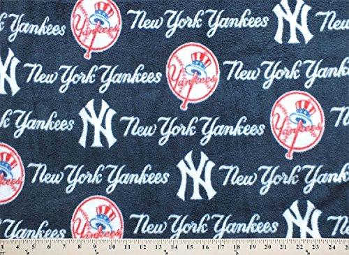 Fleece New York Yankees Logo on Navy MLB Sports Team Baseball Fleece Print By the Yard s6569-bf - Yankees Fleece Fabric