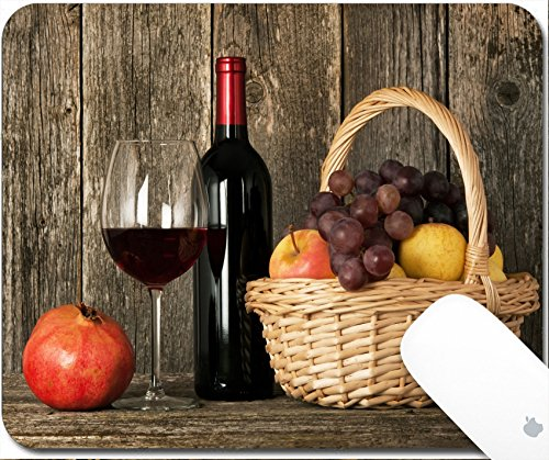 pad 9.25in X 7.25in IMAGE: 24235040 Still life Bottle of red wine glass and basket with fruit (Apple Merlot Wine)