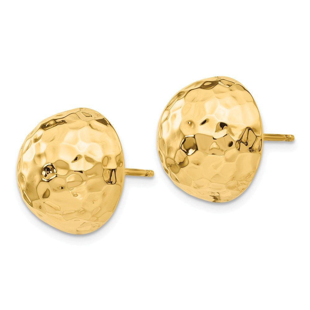 Roy Rose Jewelry 14K Yellow Gold Hammered Half Ball Post Earrings
