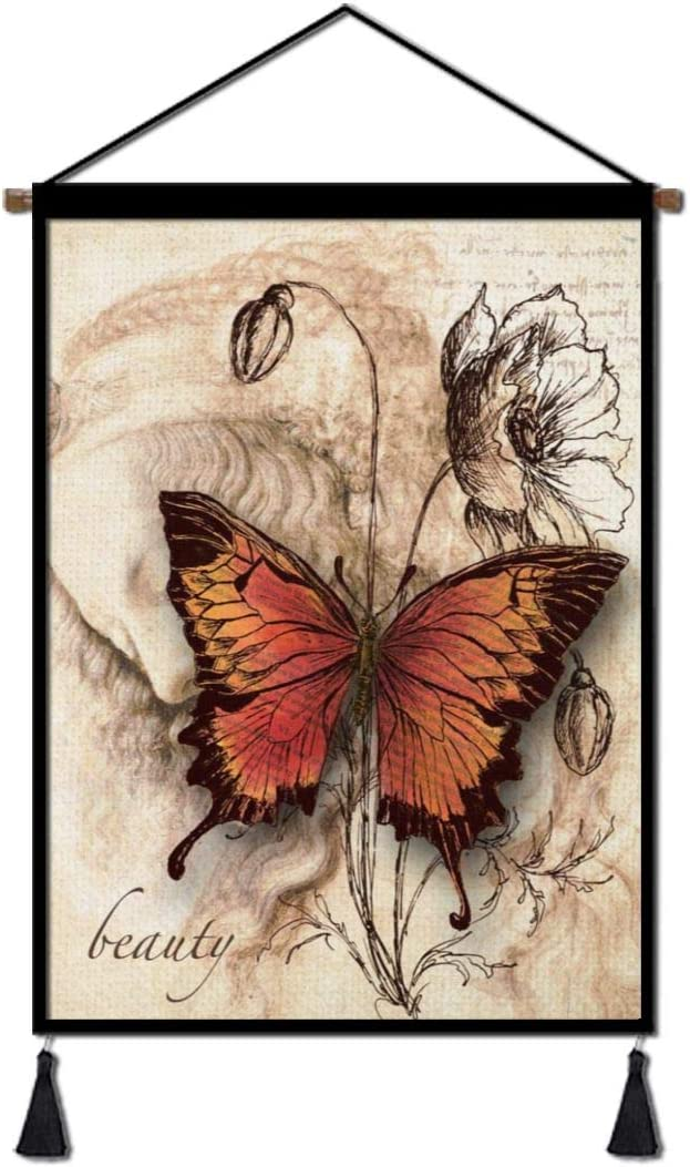 Linen Canvas Hanging Poster, Butterfly Prints Poster with Scroll Wood Framed for Living  Room Bedroom Office Home Decoration 18