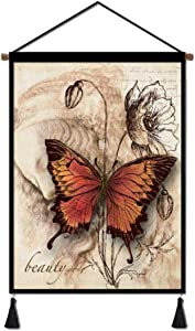 LinenCanvasHangingPoster,ButterflyPrintsPosterwithScrollWoodFramedforLiving RoomBedroomOfficeHomeDecoration18