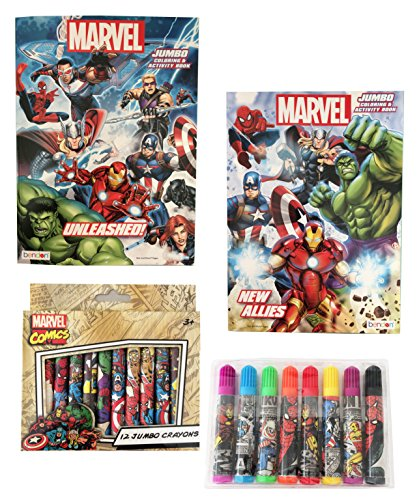 Super Heroes Coloring Books - Secret for Longevity Kids Marvels Boys Childrens Super Hero Comic Spider Man Hulk Avengers Cartoon Coloring Book Jumbo Marker Crayons School Gift Set
