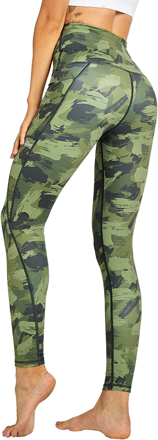 LEGENDFIT Womens High Waisted Yoga Pants Leggings Tummy Control 4 Way Stretch Camo Workout Running Tights with Pockets