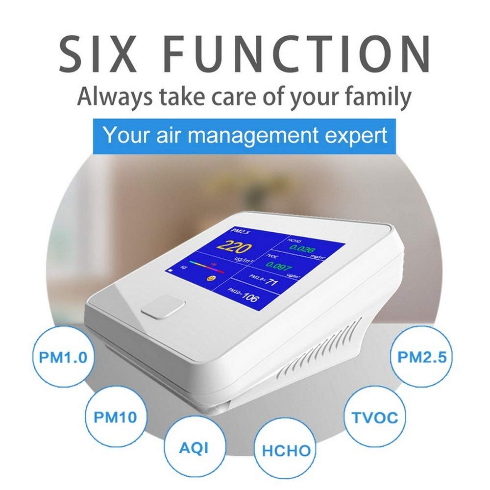 Digital Air Quality Detector PM2.5/AQI/PM1.0/PM10/HCHO/TVOC Tester Meter Monitor Tester USB Recharge For Indoor&Outdoor