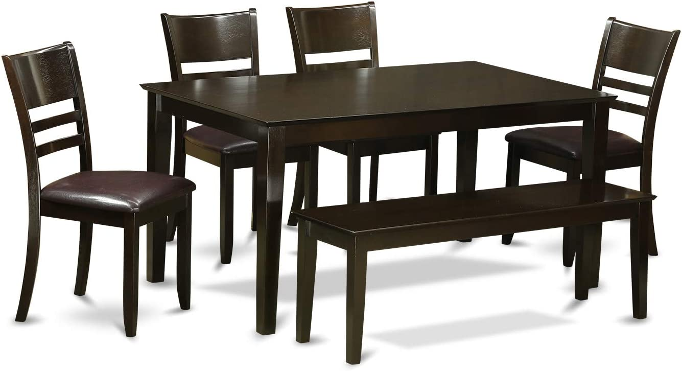 CALY6-CAP-LC 6 PC Dining set with bench- Table and 4 Dining Chairs and Bench