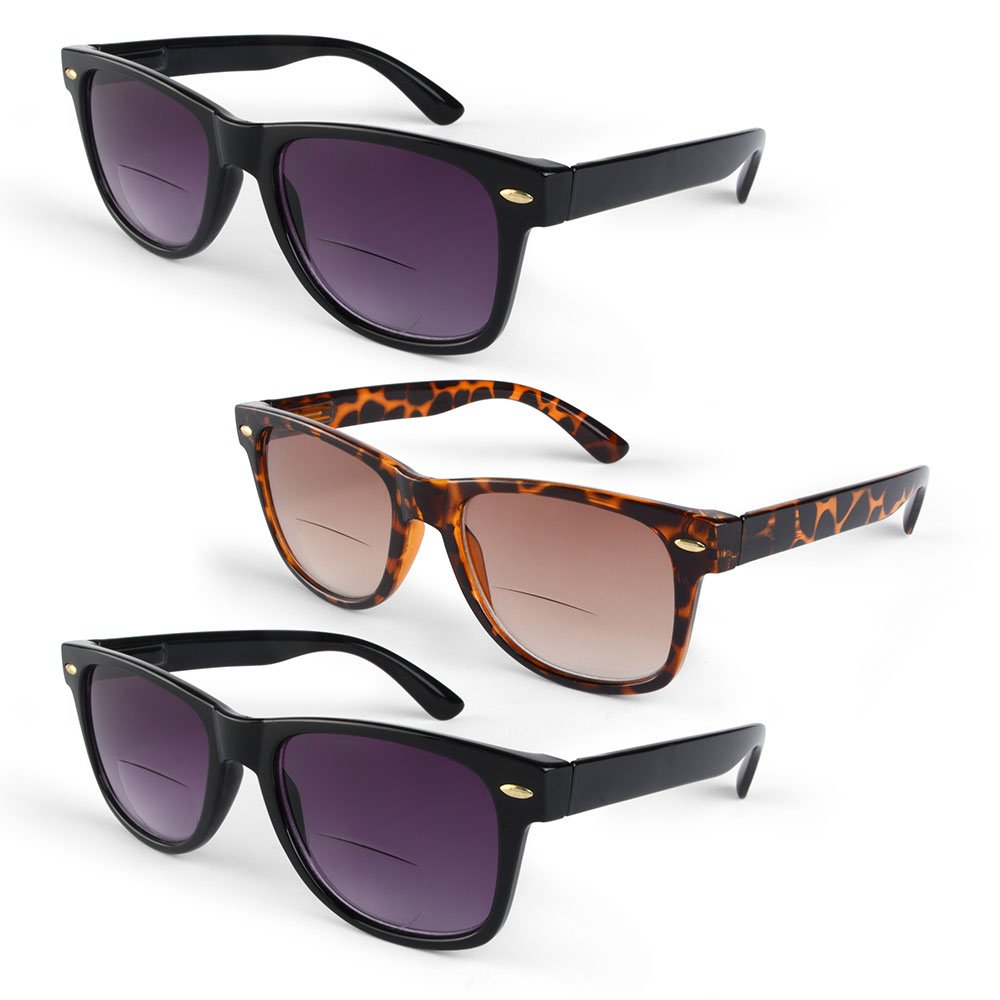 Primary Optics Retro Women's Wayfarer Spring Hinge Bifocal Sun Reader 3 Pack, 2 Black, 1 Brown +2.5