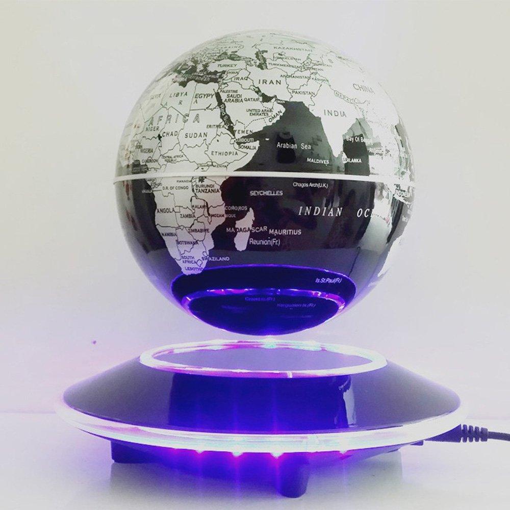 Tenlacum 6 pulgada electrónico levitación magnética flotante globo mapamundi con escaparate LED luces hogar oficina negocio regalo decoración (azul) QB-211