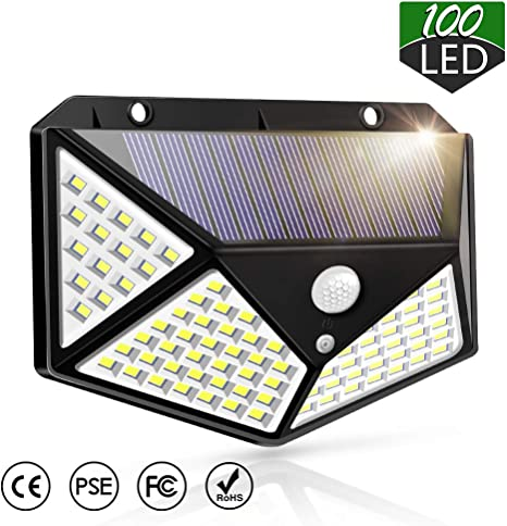 Solar Motion Sensor Light Outdoor,IP65 Waterproof 100 LED Wall Night Light with 270/° Wide Angle Easy to Install Solar Powered Security Lights for Door Pathway Garage Garden