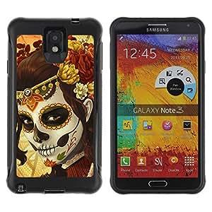 Hybrid Anti-Shock Defend Case for Samsung Galaxy Note 3 / Sugar Skull Body Paint