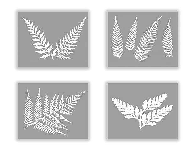 Set of four black and white botanical fern prints no 02 03 04