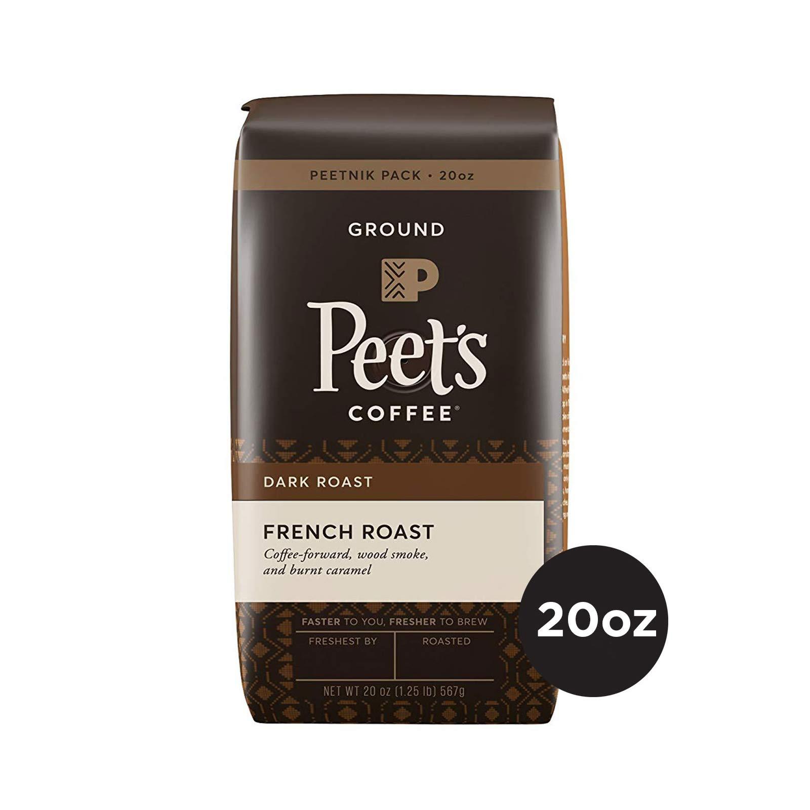 Peet's Coffee French Roast Dark Roast Ground Coffee, 20 Ounce Peetnik Value Pack