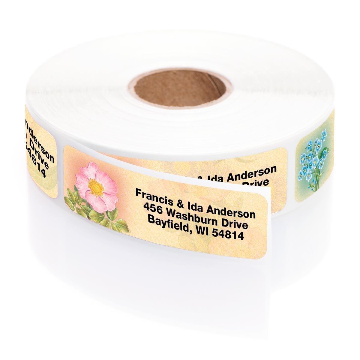 Antique Floral Designer Assorted Rolled Address Labels with Elegant Plastic Dispenser