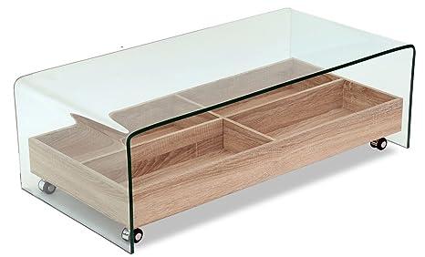 Vassoi In Legno Con Vetro : Meubletmoi tavolino in vetro temperato vassoio in legno a