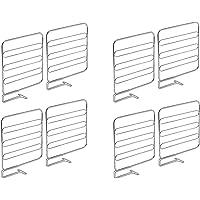 mDesign Juego de 8 separadores metálicos para organizar armarios y estanterías – Prácticos divisores de estantes y…