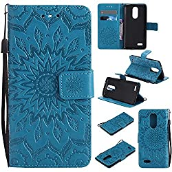 K8 2017 Case, Aristo Case, Phoenix 3 Cover, Dfly-US Embossed Mandala Design Soft PU Leather with Kickstand Flip Card Slots Slim Protective Wallet Cover for LG K8 2017 / Aristo / Phoenix 3, Blue