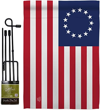 Amazon Com Historic Betsy Ross Garden Flag Set With Stand Patriotic July Memorial Veteran Independence United State American Small Decorative Gift Yard House Banner Double Sided Made In Usa 13 X 18 5