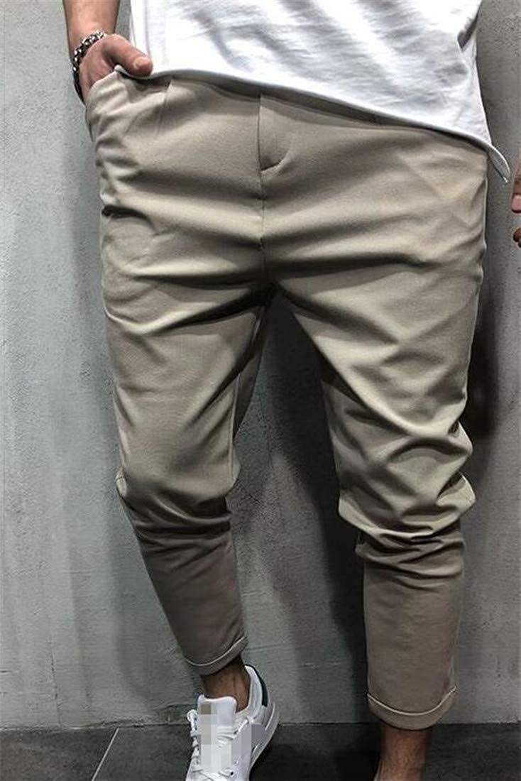 Sweatwater Men Trendy Comfy Pure Color Mid Waist Pockets Pants Trousers