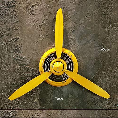 MUZIDP Wrought Iron Wall Clock,Aircraft Propeller Clock,Modern Silent Living Room Porch Wall Decor Wall Clock-E ()