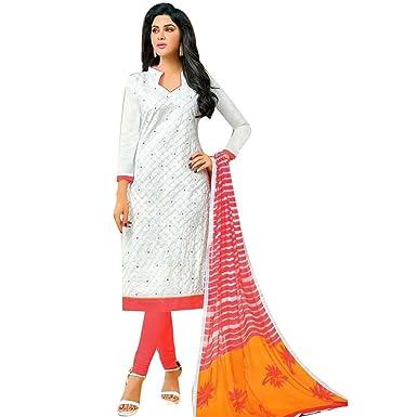 Ladyline Ready To Wear Cotton Embroidered Salwar Kameez Suit Indian Pakistani Dress