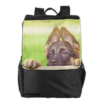 German Shepherd Dog Puppy Face Convenient Lightweight Travel Hiking Backpack Daypack Gift