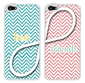 Best Friends Infinity Turquoise and Pink Chevron Snap-On Cover Hard Plastic Cases Set for iPhone 5/5S (White) by heywan