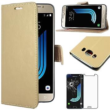 ebestStar - Compatible Funda Samsung J5 2016 Galaxy SM-J510F Carcasa Cartera Cuero PU, Funda Billetera Ranuras Tarjeta, Función Soporte, Dorado + ...