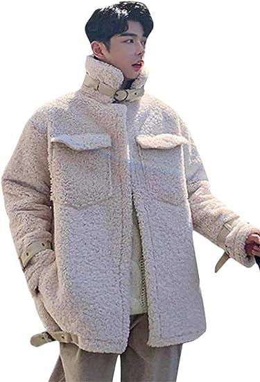 [エージョン]ボアジャケット メンズ 立ち襟 ボア ブルゾン 厚手 ジャケット ふわふわ あったか フリースブルゾン 保温 ゆったり アウター ファッション 防寒 コート 秋 冬