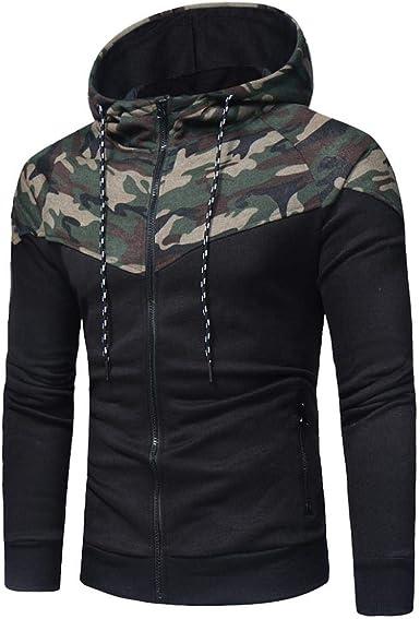 Covermason Veste en Sweat Zippé Sweat Shirt À Capuche pour Homme À Capuche Camouflage Imprimé à Manches Longues Sweat à Capuche Tops Veste Manteau
