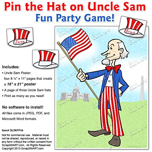 (ScrapSMART - Pin the Hat on Uncle Sam - Party Game - PDF, DOC, and Jpeg Files for Mac [Download])