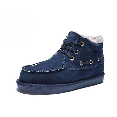 Zixi Pydi(TM) Men's Winter Warm Genuine Leather Snow Boots Lace-up Outdoor Anti-Slip Shoes