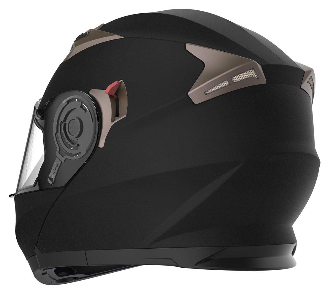 YEMA Casco Moto Modular ECE Homologado YM-925 Casco de Moto Integral Scooter para Mujer Hombre Adultos con Doble Visera-Negro Mate-L