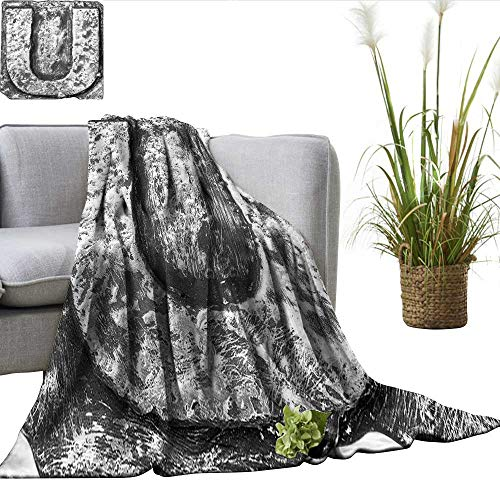 - ScottDecor Letter U Full Size Blanket Uppercase U Character in Grey Tones Retro Sign Coin Style Industrial Background Charisma blanke Black Grey W50 xL70