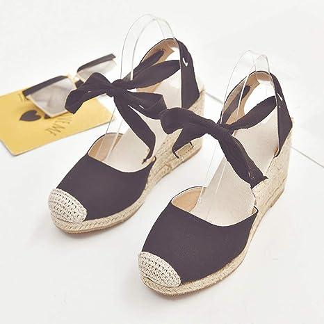2019 Nuevo Moda Mujer Zapato Con Cuña Plataforma Sandalias De Vestir Con Cordones Zapato EleganteChic De Boda Fiesta Zapatillas De Suela Gruesa Alpargatas ...