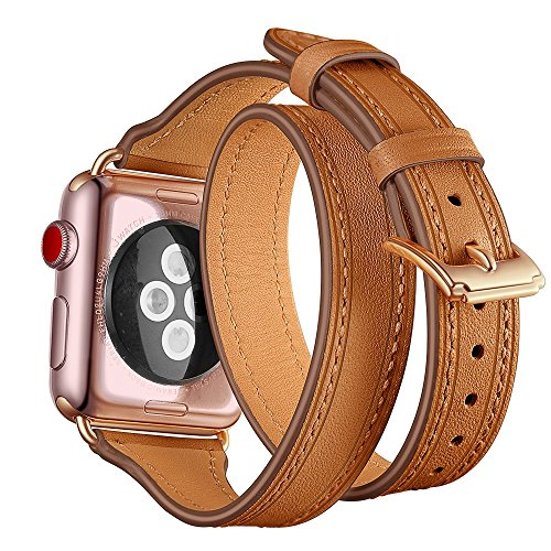 Leather Wrap New (Balerion Double wrap Bands,Compatible with Apple Watch,Genuine Leather Double Tour Strap,Slim Wristband with Stainless Clasp for Apple iwatch Series 1 2 3 4,38/40mm 42/44mm)
