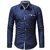 Sunyastor Mens Stylish Polka Dot Long Sleeve Button T Shirt Regular Long Sleeve Casual Down Shirt with Pocket