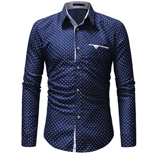 Sunyastor Mens Stylish Polka Dot Long Sleeve Button T Shirt Regular Long Sleeve Casual Down Shirt with Pocket by Sunyastor Men Sweatshirts
