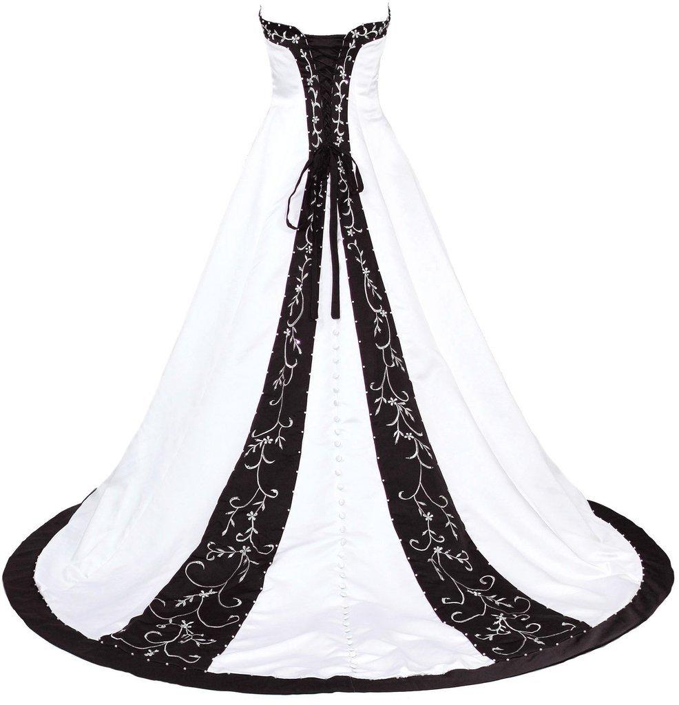 Snowskite Women's Sweetheart Embroidery Satin Beading Wedding Dress 18 Ivory&Black by Snowskite (Image #2)