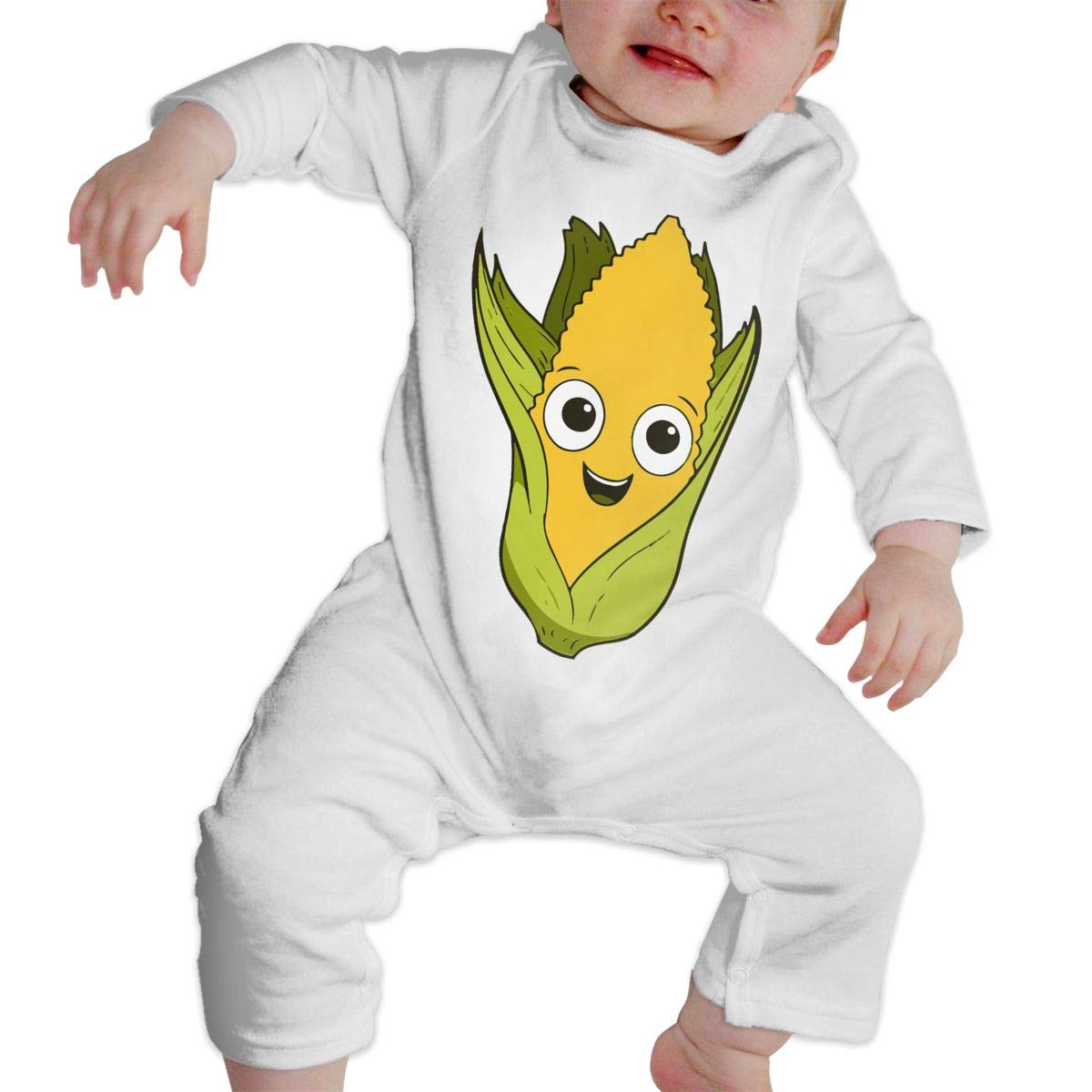A1BY-5US Baby Infant Toddler Cotton Long Sleeve Cartoon Corn Climb Jumpsuit Funny Printed Romper Clothes