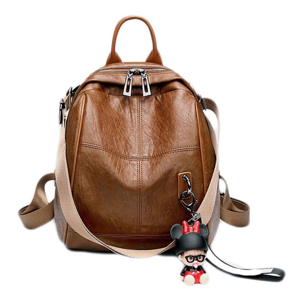 Brown Onesize Fashion Backpack Female Wild MultiPurpose Soft Leather Student Backpack Travel Bag LargeCapacity Leather Backpack AntiTheft Waterproof Lightweight Shoulder Bag (color   Black, Size   OneSize)