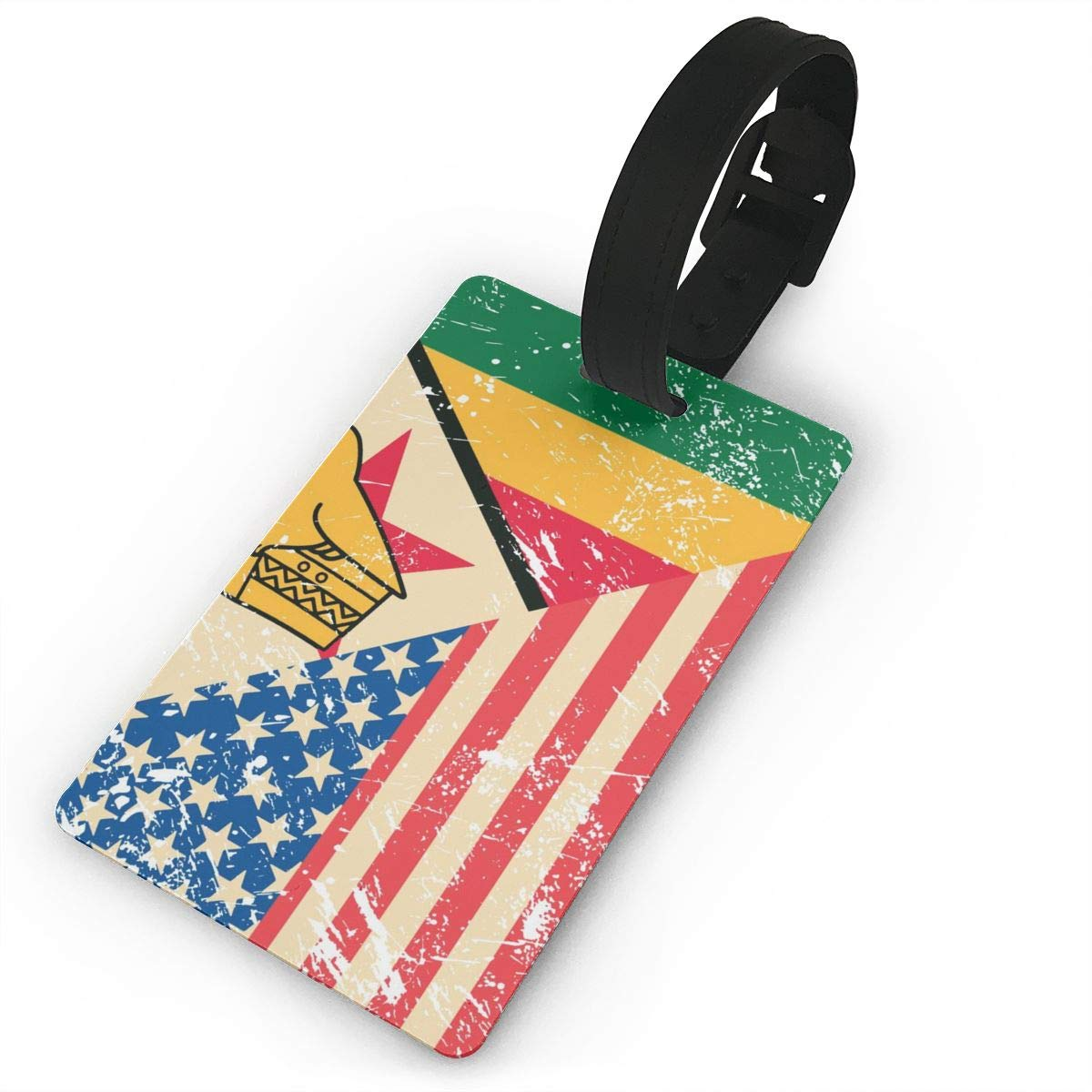 American and Zimbabwe Retro Flag Travel Luggage Tag Novel Employees Card Luggage Tag Holders Travel ID Identification Labels for Baggage Suitcases Bags