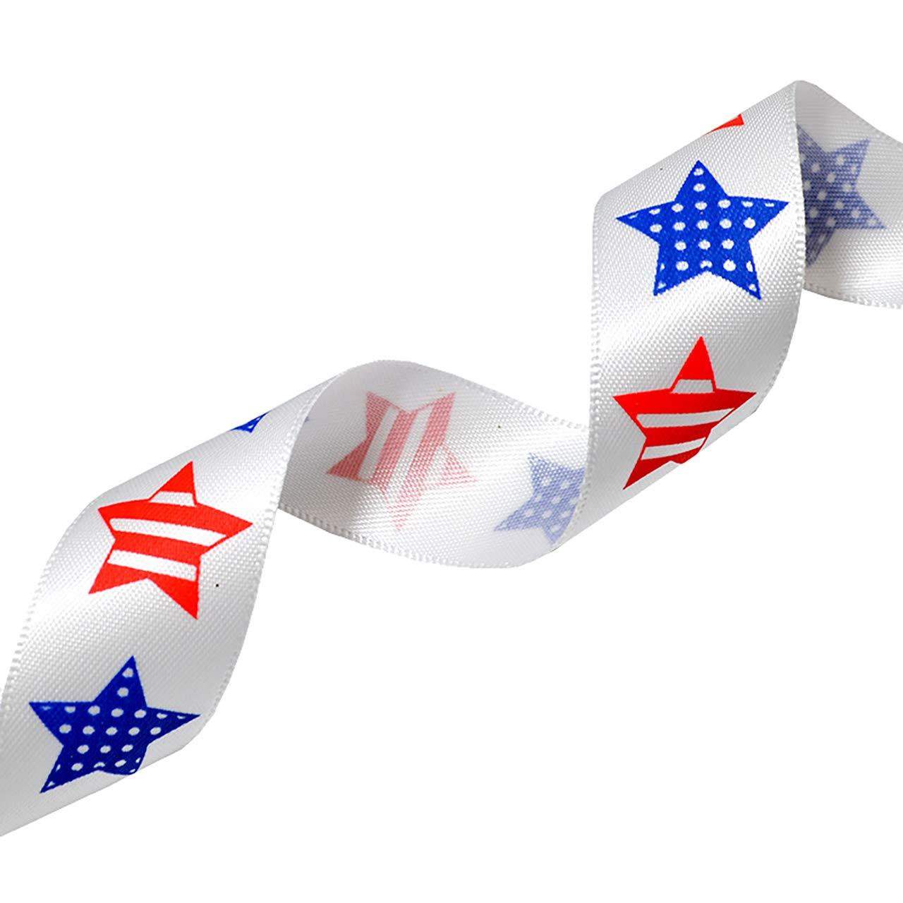 Red//White//Blue Morex Ribbon Betsy Ross Printed Satin Ribbon Spool 3//8-Inch by 5-Yard