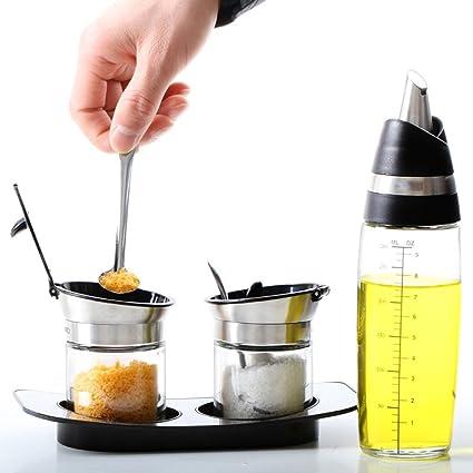 Conjunto De Tanque De Condimento Botella Giratoria De Sello De Vidrio Salsa De Frijoles Caja De