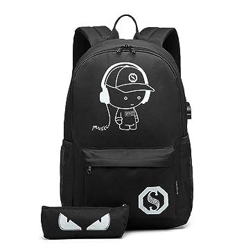Kono Mochilas Escolares, Mochila Luminosa Impermeable de Anime Mochila de poliéster Mochila de niño con Cable USB y Bolsa de candado y lápiz para ...