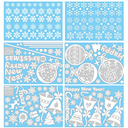 - RUILUL 110PCS Reusable White Snowflake Glass Clings Window Decals Christmas Winter Ornaments Birthday Party Supplies with Remove Scraper (129PCS Snowflakes+Bell+Balls+Christmas Tree)