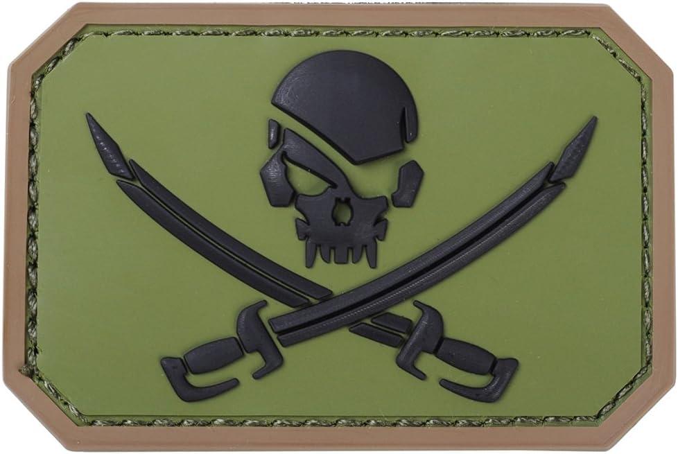 airsson táctico pirata Calavera PVC parche Militar del ejército de ...