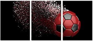 Black and Red Soccer Football Wall Art Paintings Poster Boys Room Wall Decal Art Wrapped on Frames 3 Pieces for Kids Room Decoration Ready to Hang,12x16inchx3 (Red)