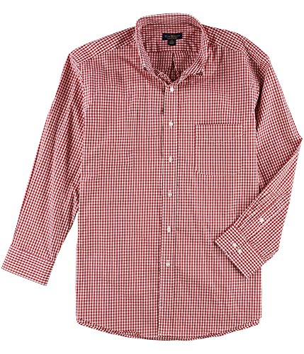 Club Room Mens Gingham Regular Fit Dress Shirt Red from Club Room