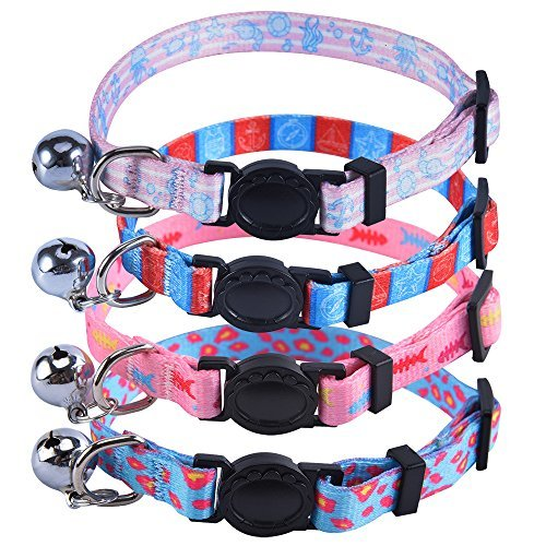 Adjustable Breakaway Cat Collars Set - with Bell Charm 4 Pcs Necklace for Kittens Small Dogs Different Marine Biological Motifs Design