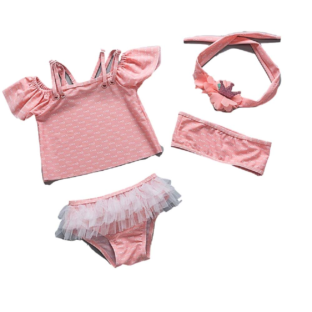 Yunqir Kids Wetsuit 4 Pcs/Set Children's Lace Split Swimsuits Kids Solid Color Printing Sunscreen Wetsuit for Water Sports(Pink)