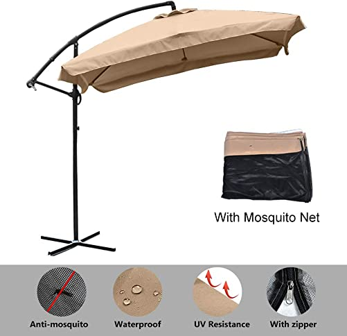 8ft Patio Offset Hanging Umbrella, Outdoor Cantilever Umbrella with Mosquito Net, Outdoor Market Umbrella with Crank Lift Cross Bases, Adjustable Umbrella for Garden, Deck, Backyard, Pool